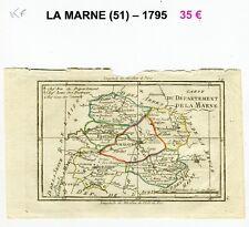 Dépt 51- XVIII ème Belle Carte Gravure sur Cuivre Aquarellée An III (1794/1795)