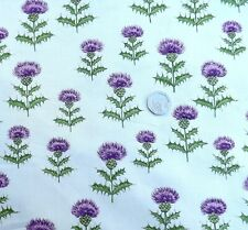 Scottish Thistle on cream fabric fq 50cm x 56 cm Nutex 11400-101 100% Cotton