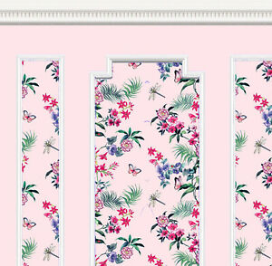 Dolls House Wallpaper 1/12th scale Pink Floral Quality Paper #297P