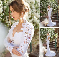 White Ivory Lace Mermaid Wedding Dresses Bridal Gowns V Neck Long Sleeves Train