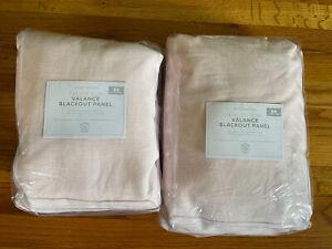 2 Pottery Barn Kids Evelyn Bow Valance Linen Blend Panels 44x84 Light Pink NWT