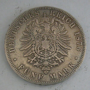 PRUSSIA -WILHELM I SILVER 5 MARK 1876A-KN#503