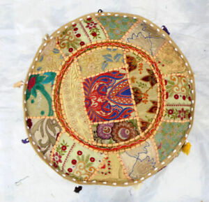 """Indian Cotton Vintage Round Ottoman Pouf Throw Patchwork Footstool Cover 14X22"""""""