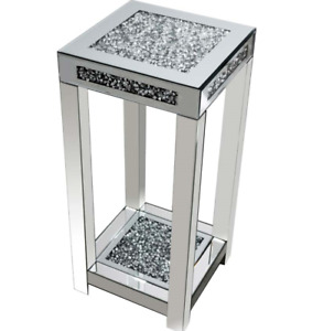 Diamond Crush Crystal Silver Side Display Stand End Table Furniture Home/Office
