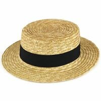 10f8c483119 Straw Boater Hat Sailor Skimmer BLACK Band Hawkins Summer Sun Cap