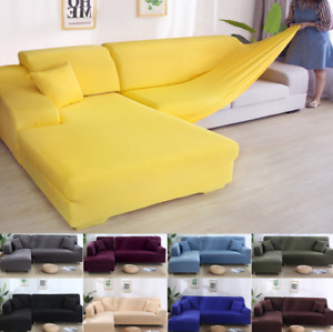 Soild Color Universal 1/2/3/4 Seater Stretch Sofa Washable Slipcover Protector