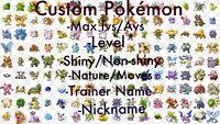 Pokemon Let's Go Pikachu & Eevee Any Custom 3 Shiny Pokemon 6IV/Max/AV Set