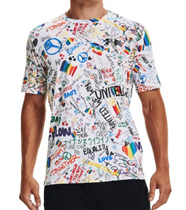 Under Armour T Shirt Mens Authentic Printed Print Graphic Short Sleeve White