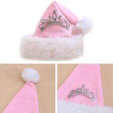 St. Pink Crown Santa Hat Holiday Christmas Cap Plush Velour Xmas