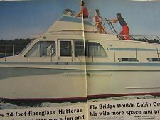 1965 Hatteras 34 ft Fly Bridge Double Cabin Cruiser Original Ad 2 Page 8.5 x 11""