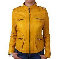 Brandslock Womens Genuine Leather Biker Jacket Vintage Retro Rock