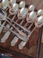 12 Cuillères de Table en Métal Argenté Style Louis XV