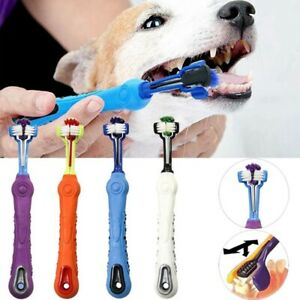 2Pcs Premium 3-Sided Dog Toothbrush Gum Care Pet Toothbrush Set for Dogs Cats