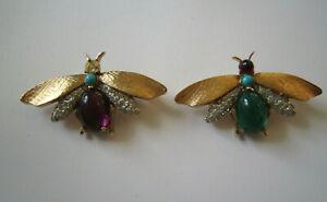 2 Vintage Panetta Cabochon Jewel Rhinestone Insect Bug Pin Brooch