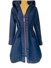 Ted Baker ZOWE Ruffle Frill Front Navy Hooded Parka Coat Size 2 Uk 10 RRP £229