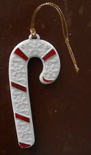 Wedgwood White China Candy Cane Ornament 4-1/2 Inch ~ Red & Gold Stripes
