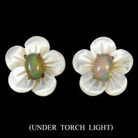 Unheated Oval Fire Opal 7x5mm Mother Of Pearl 925 Sterling Silver Earrings