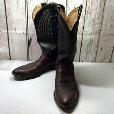 Justin mens Western burgundy black leather cowboy Boots Shoes size 11D pointed