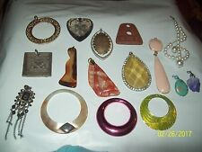 Vintage Mixed Lot of 16 Chunky Pendants for Jewelry Making Necklaces-NICE!