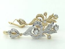 RUSSIAN STYLE 14K YELLOW GOLD & WHITE GOLD HANGING DIAMOND DROP LONG EARRINGS