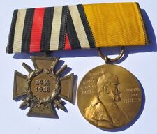 1914-18 Germany German Prussia WWI Hindenburg Cross & Medal Badge Ribbon Device
