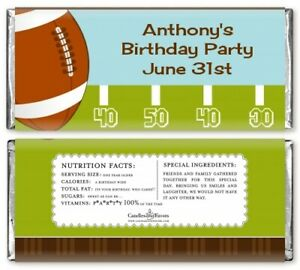 Football Personalized Birthday Party Candy Bar Wrappers - Candy Favor