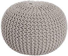 Sitzhocker Hocker Sitzpouf Puff Grobstrick Sitz-Pouf Kissen 55cm beige