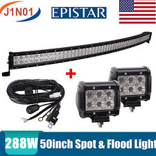 """50"""" Inch 288W CURVED LED WORK LIGHT BAR COMBO SPOT&FLOOD DRIVING OFFROAD BAR HOT"""