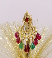 Design Kundan Jadau Earring Dangling 22K Yellow Gold Color Stone Traditional