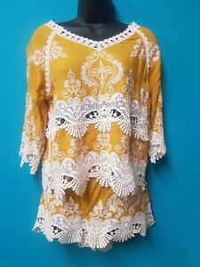 New Look Mustard & Lace Top (Size S) & Shorts (Size M) Set (NWT)