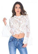 AX Paris Womens Cream Sheer Lace Long Sleeve Crop Top, Summer Casual Ladies