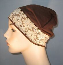 Brown Stretch Knit Sleep Play Cap w/Tea Color Lace  Hospital  Cancer Chemo Hat