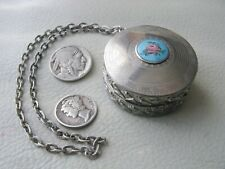 Antique Art Deco Silver Blue Guilloche Pink Floral Small Double Dance Compact