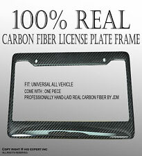 JDM Style 1 pc REAL CARBON FIBER LICENSE PLATE FRAME TAG COVER ORIGINAL 3K I301