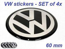 SET of 4 60mm VW Wheel Hub Caps Badge Emblem Stickers Passat Bora Golf Caddy etc