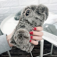 Furry Rabbit Warm Case Shockproof Silicone Cover for iPhone 7 8 Plus X XR XS Max