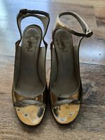 YVES SAINT LAURENT Ladies Gold Ankle Strap Leather Heeled Sandals Size 6 UK