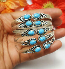 Sleeping Beauty Turquoise Gemstone Cuff Bracelet 925 Sterling Silver Plated