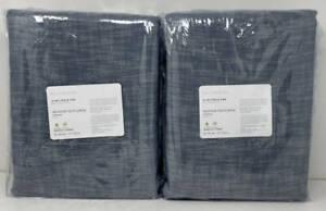 Pottery Barn Seaton Textured Drape Curtain (2) ~ 50 x 96 ~ Chambray Blue