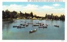 Brevard North Carolina Camp Sapphire Row Boats Antique Postcard K65350