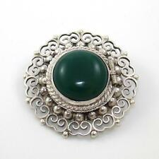 Vintage Sterling Silver Green Carnelian Bead Ball Pill Box Pin Brooch