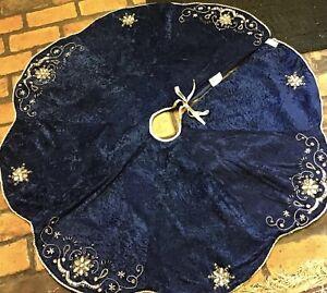 """45"""" Velvet Royal Blue Snowflake Stones  Christmas Tree Skirt"""