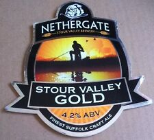 Beer pump badge clip NETHERGATE brewery STOUR VALLEY GOLD cask pumpclip front