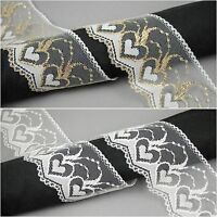 68 mm VINTAGE  Lace TRIM white gold Heart Pattern  BRIDAL craft cards Sewing