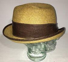 0f7184eb37ba5 Mohican Carlos Santana Vented Toyo Straw Fedora Trilby Hat Natural Brown  Band