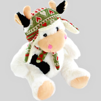 Sitting Cow Soft Toy Plush White Winter Woollies Stuffed Animal Cute Birthday