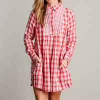Entro Shift Dress Lightweight, Long Sleeves, Pockets, Orange/Red & Cream Plaid