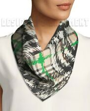 BURBERRY green & beige SCRIBBLE CHECK triangle silk Bandana scarf NWT Authentic