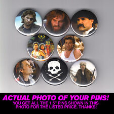 "KURT RUSSELL - 1.5"" PINS  BUTTONS (poster print shirt snake escape big trouble)"