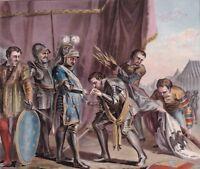 Gravure XVIIIe Mathieu II De Montmorency Bouvines Etendards Armée Impériale